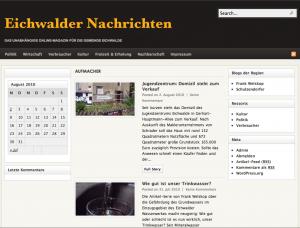 Bildschirmfoto der Eichwalder Nachrichten