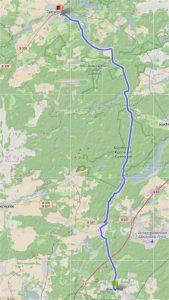 """Die Route (<a href=""""http://www.gpsies.com/map.do?fileId=todyabnzkufelaxq"""" target=""""_blank"""">gpsies.com</a>) von Biesenthal nach Templin führt mitten durch die Schorfheide."""