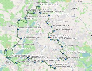 Einmal rund ums ehemalige Westberlin führt die Route der 100MeilenBerlin. (Karte: OpenStreetmap)